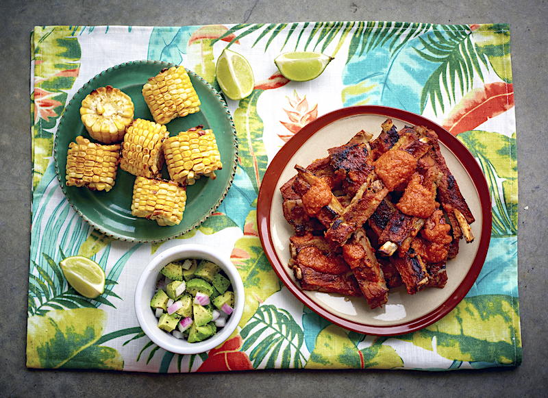 Chipotle Ribs with Roast Corn